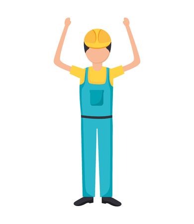 construction worker in overall uniform vector illustration 版權商用圖片 - 124334617