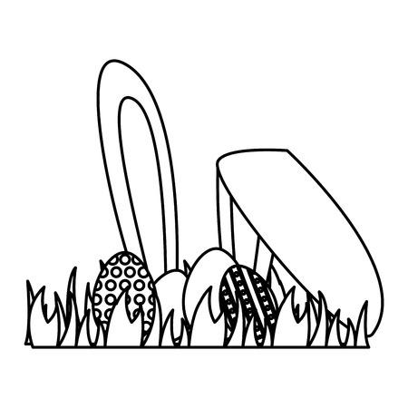 happy easter eggs ears grass vector illustration
