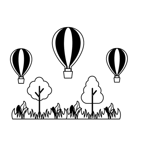 hot air balloons trees meadow nature vector illustration