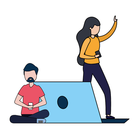 couple with smartphone and laptop avatar character vector illustration desing