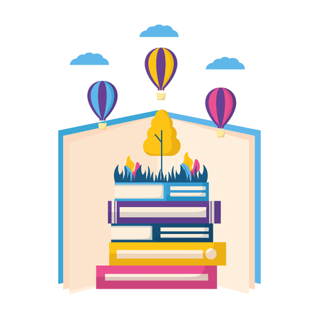 world book day literature learn know vector illustration Foto de archivo - 124334640