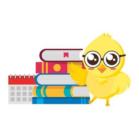cute chicken student with books vector illustration