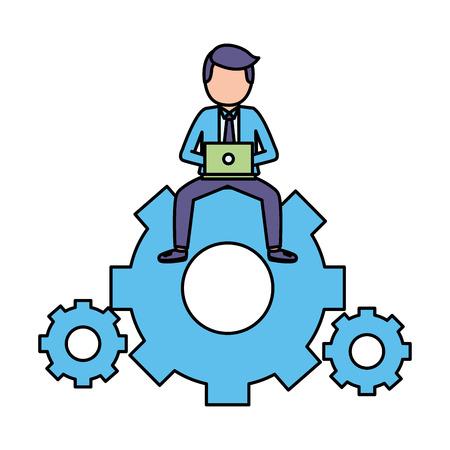 hombre de negocios, con, computadora portátil, sentado, en, engranaje, trabajo, vector, ilustración