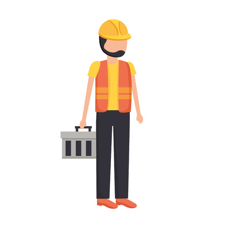 construction worker with toolkit on white background vector illustration 向量圖像