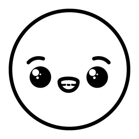 kawaii emoji cartoon face expression vector illustration vector illustration Ilustração