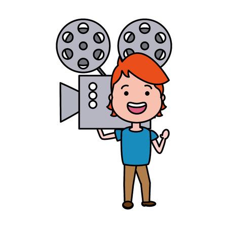 Mann mit Kinoprojektor-Avatar-Charakter-Vektor-Illustrationsdesign Vektorgrafik