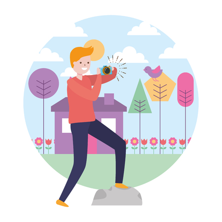 man taking photo with camera in the park vector illustration
