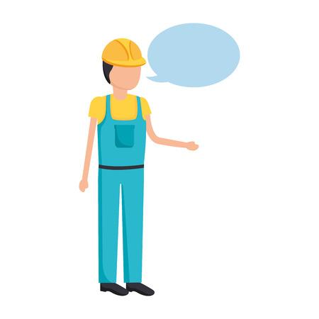 worker construction talking speech bubble vector illustration