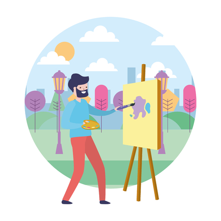 man painting a picture in the park vector illustration