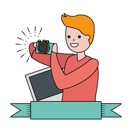 man taking photo with camera - my hobby vector illustration 스톡 콘텐츠 - 124334876
