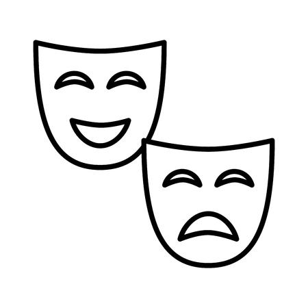 Progettazione dell'illustrazione di vettore dell'icona isolata maschera del teatro Vettoriali