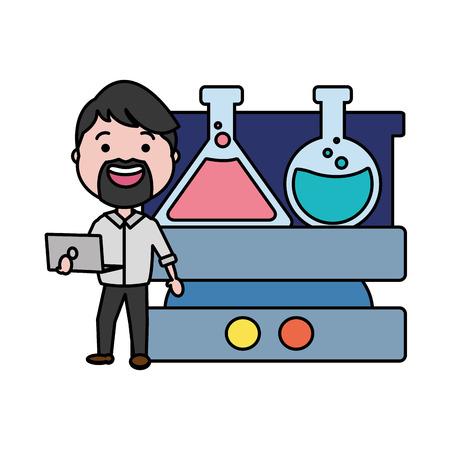 professor science laboratory test tube laptop vector illustration 向量圖像