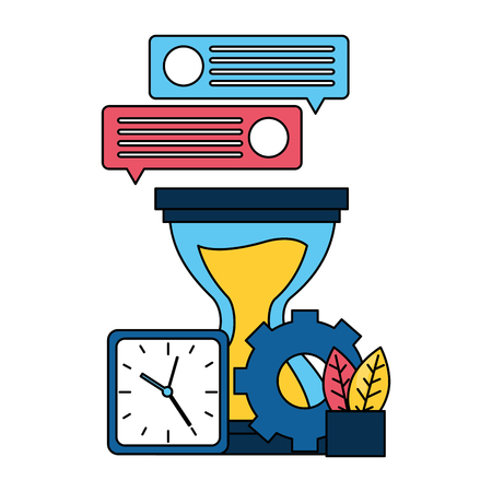 hourglass clock gear message work vector illustration Ilustrace