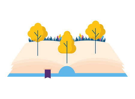 open book trees nature on white background vector illustration 版權商用圖片 - 124334898