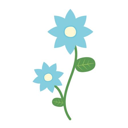 Blume mit Stiel und Blättern mit weißem Hintergrund-Vektor-Illustration