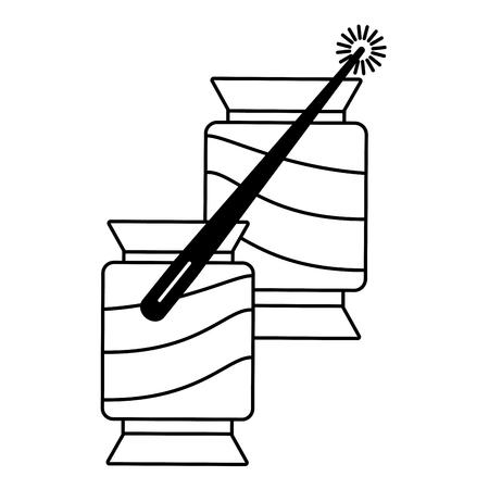 Nähgarnröhren mit Nadelvektorillustration Vektorgrafik