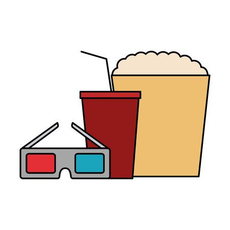 cinema glasses and popcorn isolated icon vector illustration design Ilustração