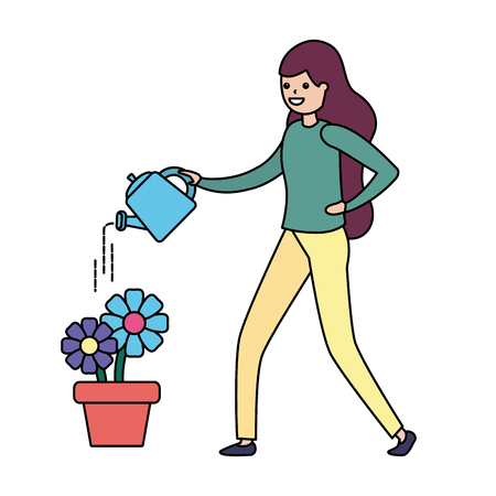woman watering can flowers gardening vector illustration