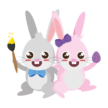 beautiful rabbits couple with egg and paintbrush vector illustration design