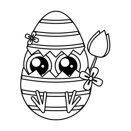 cute little chick with shell egg broken and rose vector illustration design Archivio Fotografico - 119054599