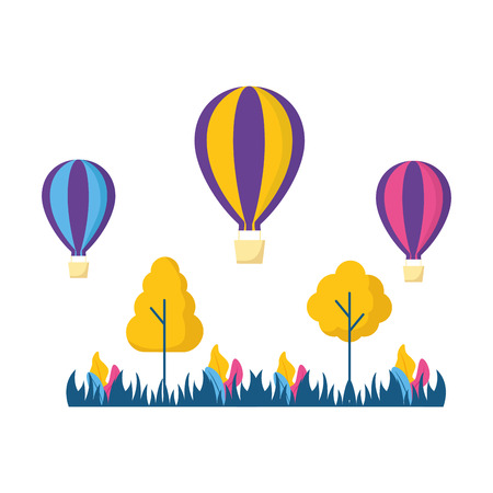 hot air balloons trees meadow nature vector illustration Stock Vector - 124334939