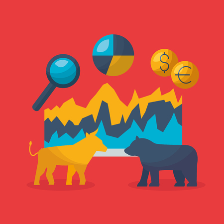 bull bear analysis exchange money financial stock market vector illustration