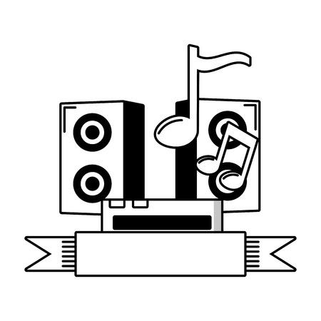 sound speaker music ribbon emblem vector illustration 向量圖像