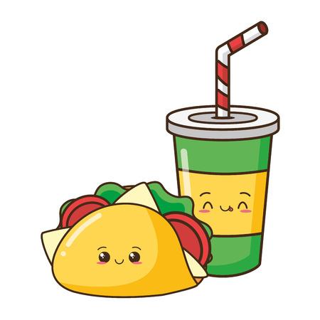 kawaii cartoon taco soda fast food vector illustration Ilustração