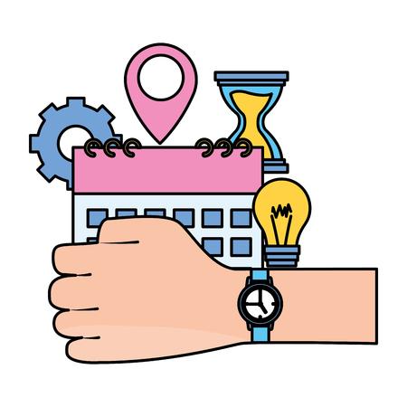 hand with watch work time calendar idea vector illustration Standard-Bild - 124338837