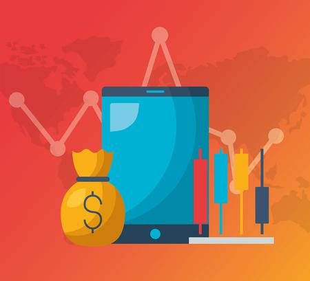 cellphone money bag chart financial stock market vector illustration