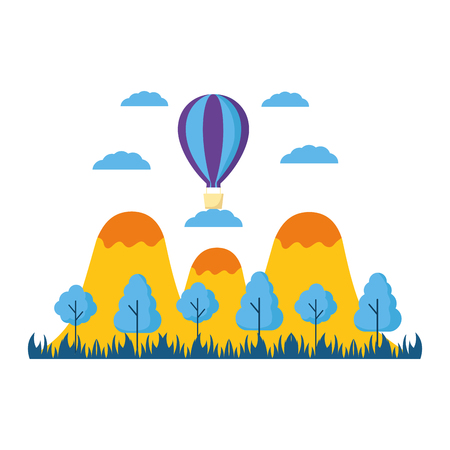 landscape hot air balloon mountains trees vector illustration