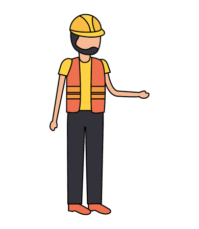 worker construction with helmet and vest vector illustration  イラスト・ベクター素材