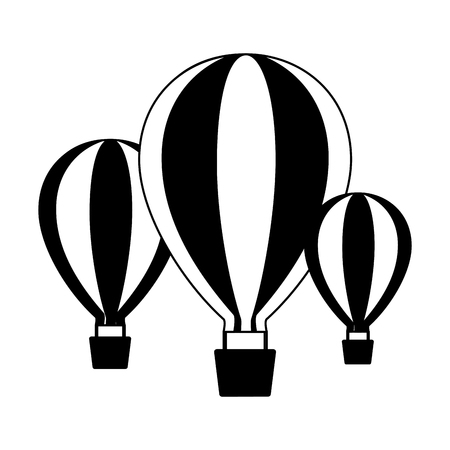 three hot air balloons adventure on white background vector illustration Stock fotó - 124338844