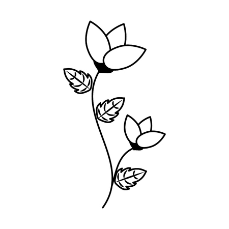 flower with stem and leaves white background vector illustration  イラスト・ベクター素材
