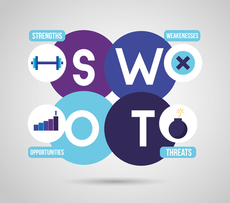swot infographic analysis, colors graphic stats vector illustration Standard-Bild - 124338850