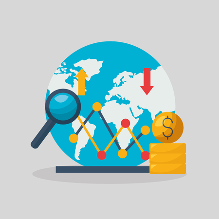 world money trade business financial stock market vector illustration