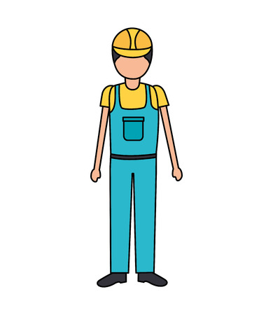 construction worker in overall uniform vector illustration 版權商用圖片 - 124338858