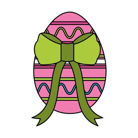 wrapped easter egg decorative ribbon vector illustration  イラスト・ベクター素材