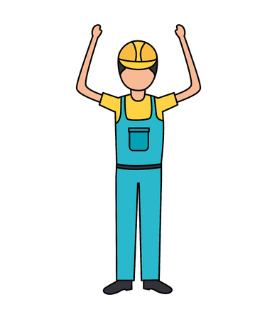 construction worker in overall uniform vector illustration 版權商用圖片 - 124338888