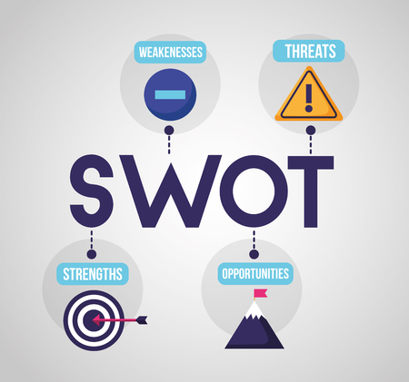 Swot-Infografik-Analyse, Farben-Grafik-Statistik-Vektor-Illustration Vektorgrafik