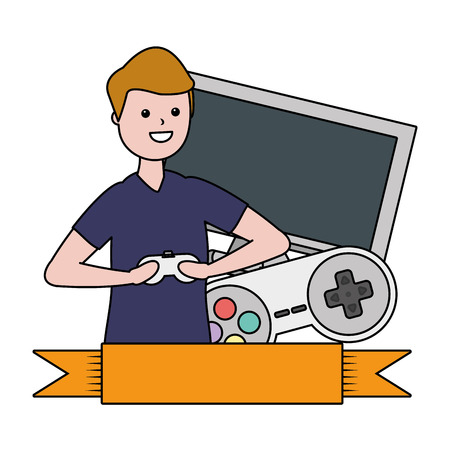 man playing video game - my hobby label design vector illustration