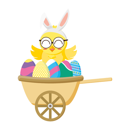 cute little chick with eggs painted in wheelbarrow vector illustration design Standard-Bild - 124338970