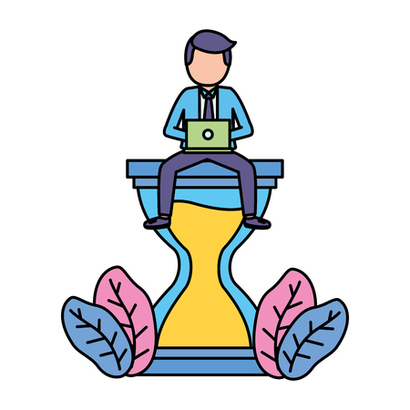 businessman with laptop sitting on hourglass vector illustration