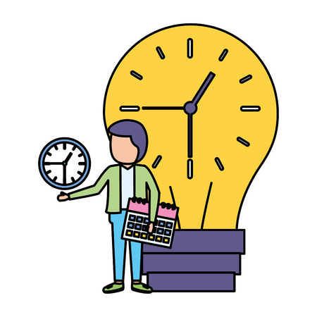 businessman with bulb clock time calendar vector illustration Reklamní fotografie - 124298708