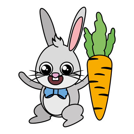 beautiful rabbit with carrot easter character vector illustration design