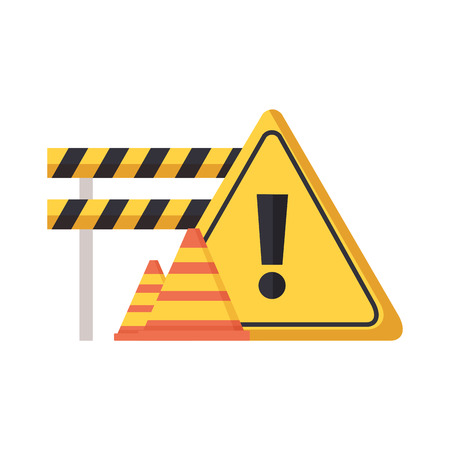 barricade repair construction cone traffic sign vector illustration