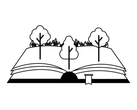 open book trees nature on white background vector illustration 版權商用圖片 - 119056919