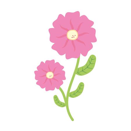 bloem met stengel en bladeren witte achtergrond vectorillustratie