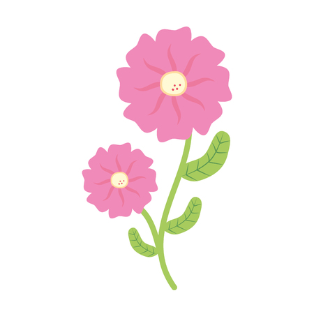 flower with stem and leaves white background vector illustration