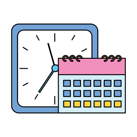 square clock time calendar on white background vector illustration vector illustration